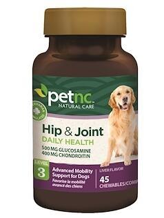 3。petnc NATURAL CARE, 宠物天然呵护,臀部和关节,第3级,肝脏味,45片咀嚼片.jpg.jpg