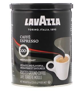 3。LavAzza Premium Coffees, Ground Coffee, Medium Roast, Caffè Espresso, 8 oz (.jpg