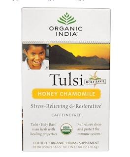 4.Organic India, 罗勒茶,蜂蜜洋甘菊,不含咖啡因,1.08盎司(30.6克),18包.png.png