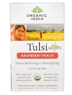 6.Organic India, 圣罗勒桃,树莓,不含咖啡因,18包,每包1.21盎司(34.2克).png.png
