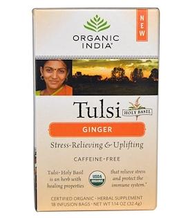 8.Organic India, 圣罗勒子茶,不含咖啡因,生姜味,18包,每包1.14盎司(32.4克).pn.png