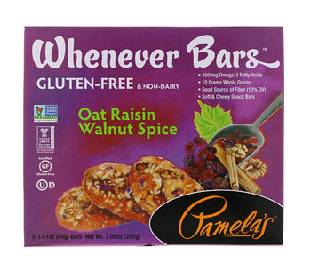 5.Pamela's Products, Whenever Bars,燕麦葡萄干核桃香料,5 条,每条 1.41 盎.png