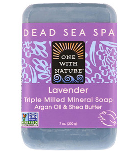 3。One with Nature, Triple Milled Mineral Soap Bar, Lavender, 7 oz (200 g).png