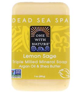 2。One with Nature, Triple Milled Mineral Soap Bar, Lemon Sage, 7 oz (200 g).png