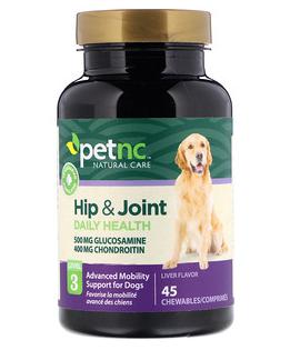 6。petnc NATURAL CARE, 宠物天然呵护,臀部和关节,第3级,肝脏味,45片咀嚼片.png.png