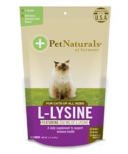 7。Pet Naturals of Vermont, L-赖氨酸,猫食,鸡肝口味,250 毫克,60 粒咀嚼片,3.7.png