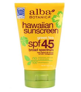 8。Alba Botanica, 夏威夷防晒霜,SPF 45,4盎司(113克).png