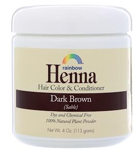 1.Rainbow Research, Henna,头发染色剂和护发素,深褐色(黑),4盎司(113克).png.png